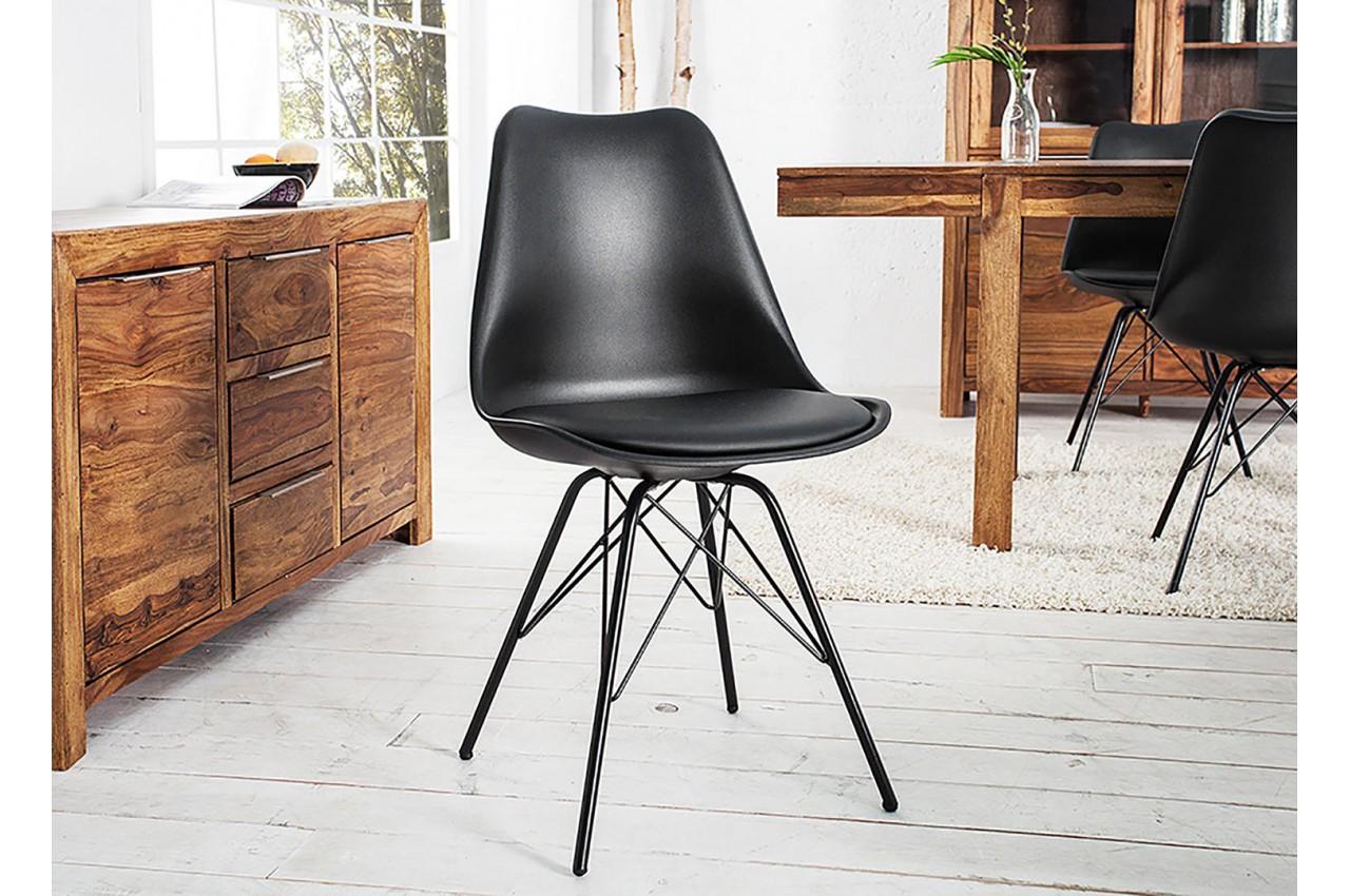 Chaise noire matelass e simili cuir noir pieds m tal - Chaise cuir noir salle manger ...