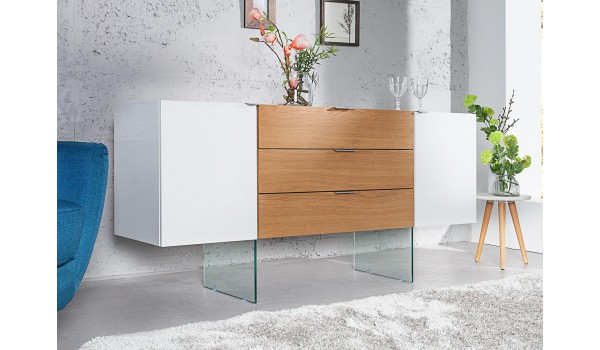 Buffet design 160 cm - Blanc / Bois