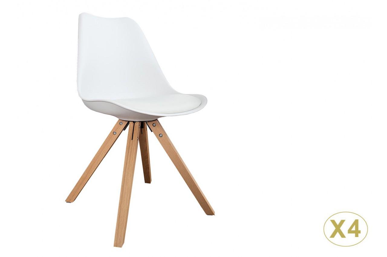 chaise blanche et bois scandinave pas cher pour salle manger