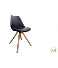Chaise noire et bois scandinave pas cher