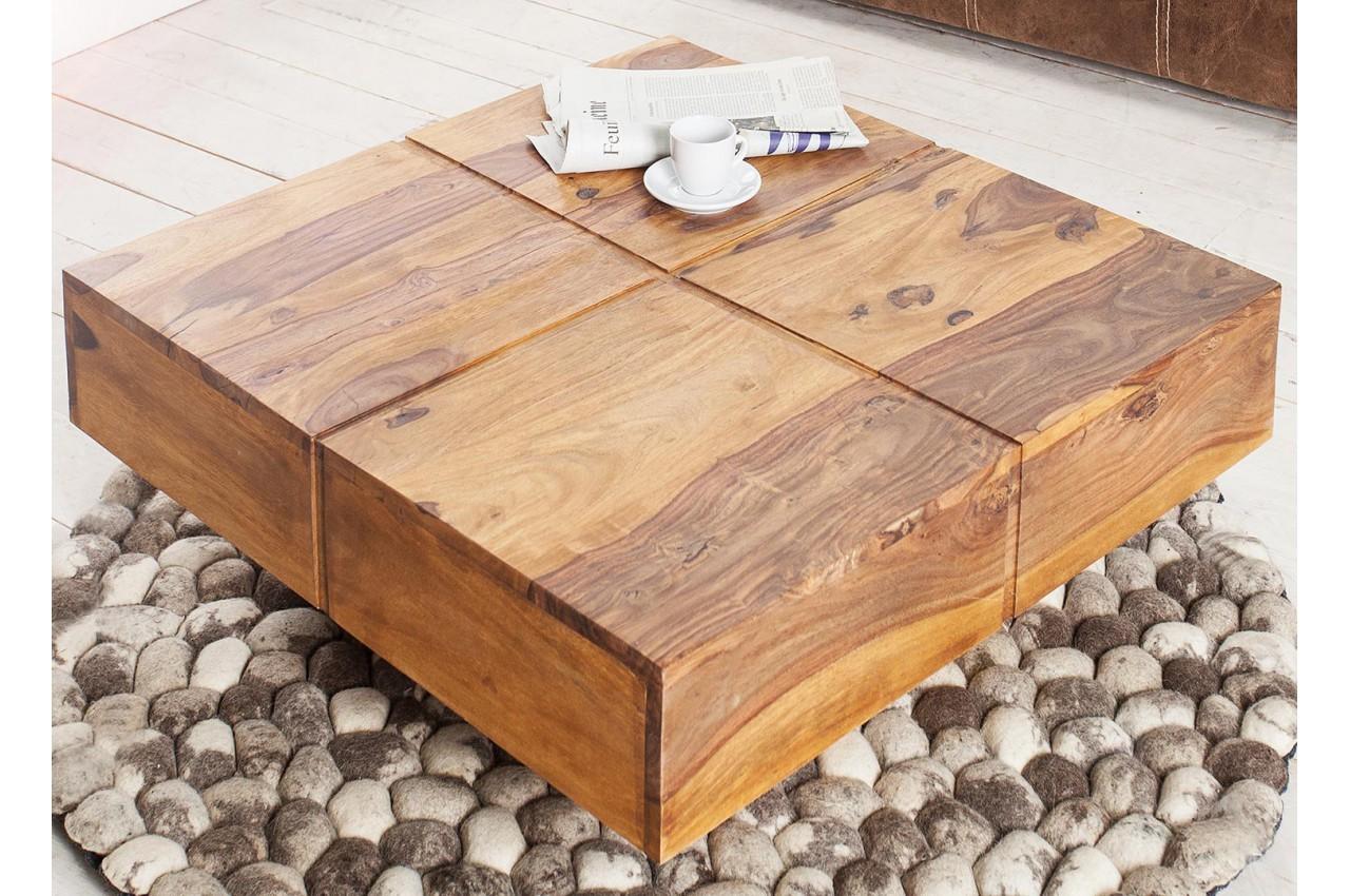 Table basse bois massif   Carrée 80 cm pour salon 97340270158d