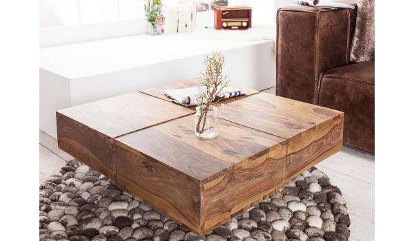 Table basse bois massif / Carrée 80 cm