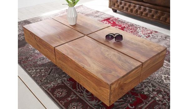 Table Basse Rectangulaire 110 Cm Bois Massif