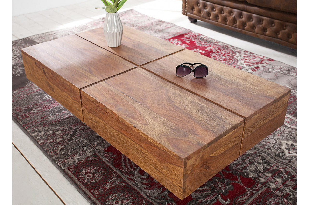 Grande Table Basse Bois table basse rectangulaire 110 cm / bois massif pour salon