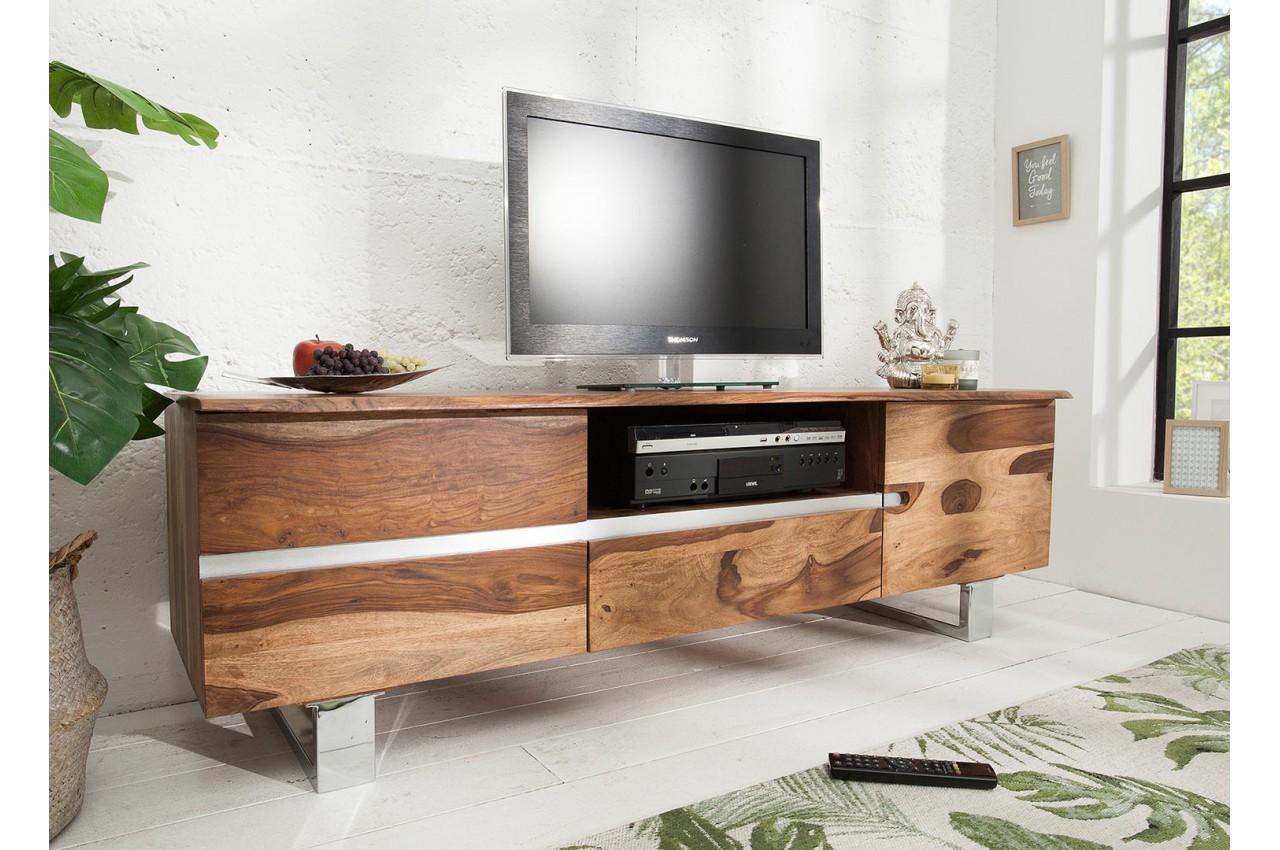 meuble tv design 160 cm bois massif pour salon. Black Bedroom Furniture Sets. Home Design Ideas