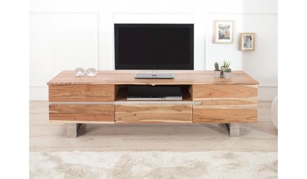 Meuble TV design en bois acacia / 160 cm