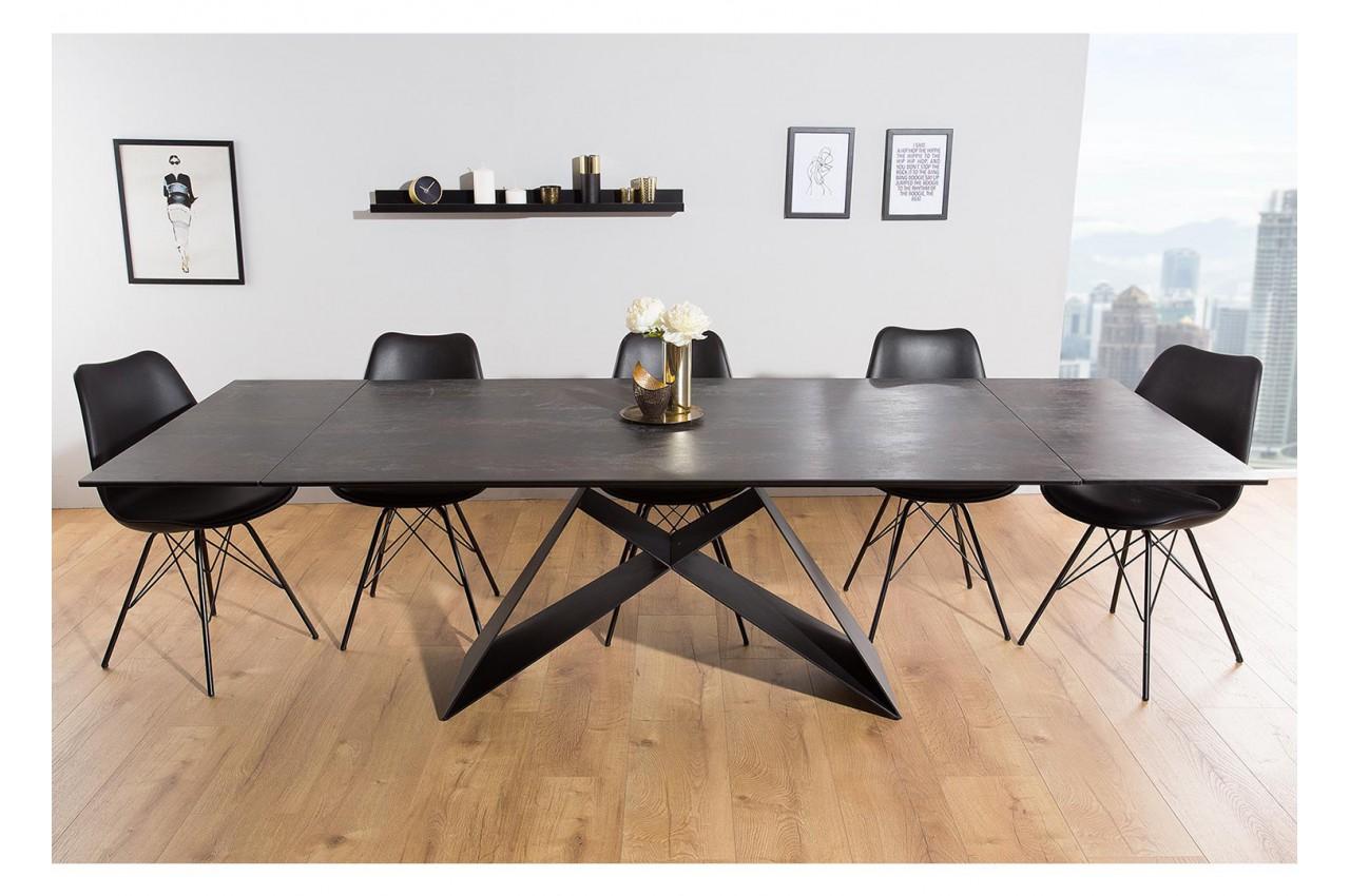 Table Contemporaine Gris Lave Et Pied Design Noir Metal Pour Salle
