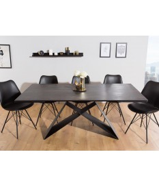 Table Contemporaine gris-lave et pied design noir métal