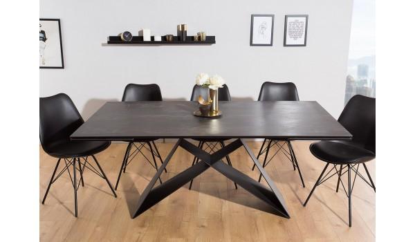 Table Contemporaine gris-lave et pied design noir métal
