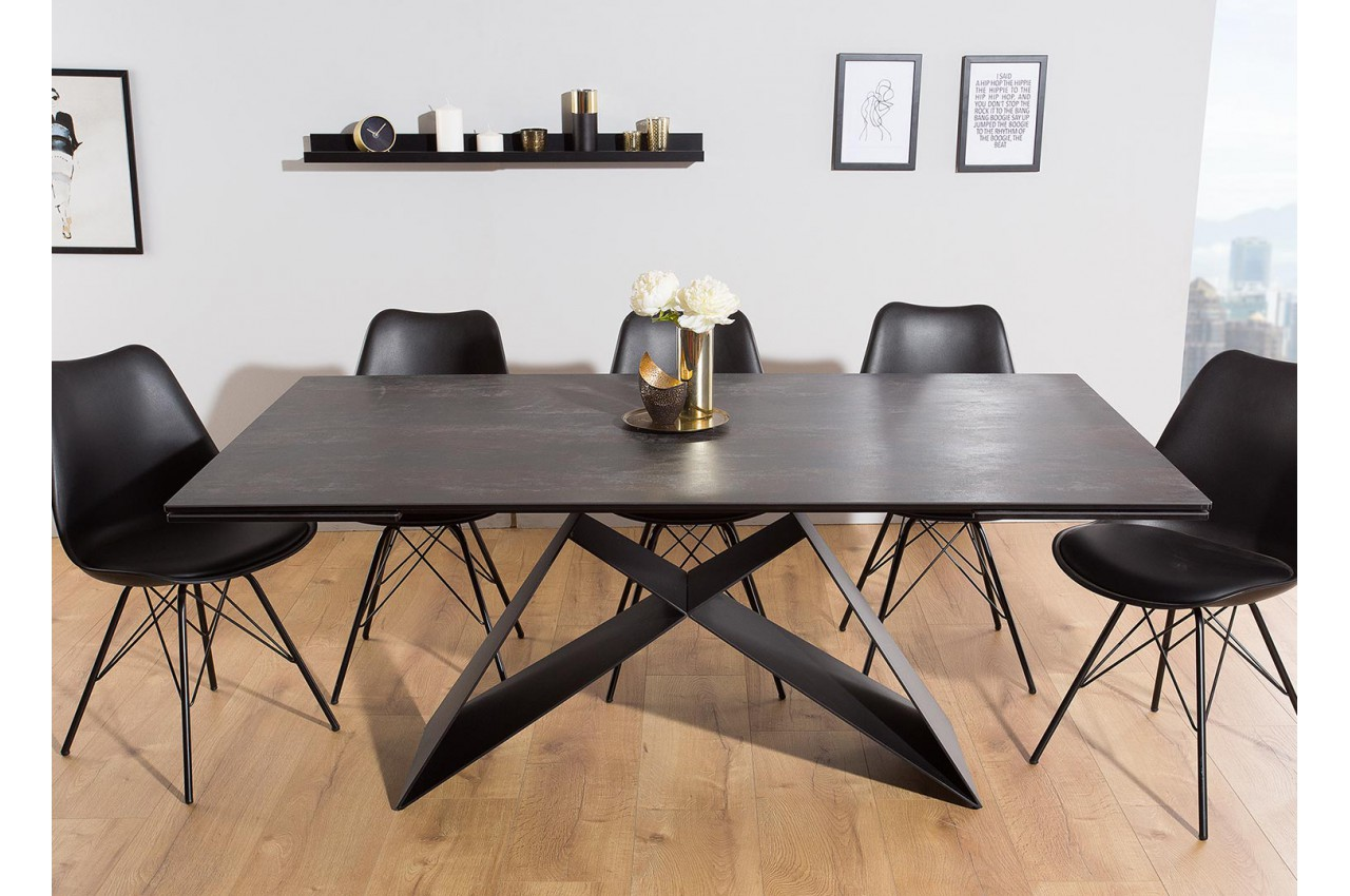 table contemporaine gris lave et pied design noir m tal. Black Bedroom Furniture Sets. Home Design Ideas