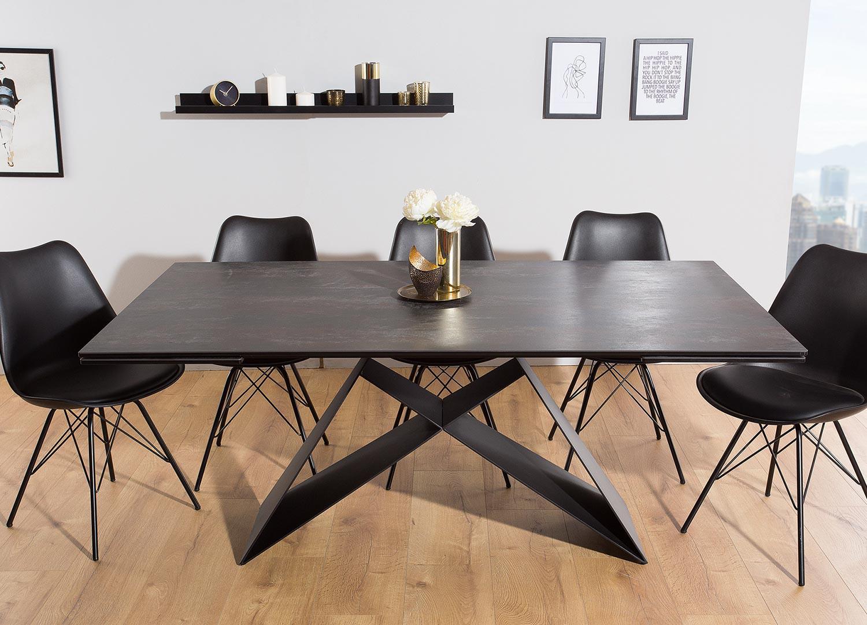 Salle A Manger Gris Blanc Noir table contemporaine gris-lave et pied design noir métal pour