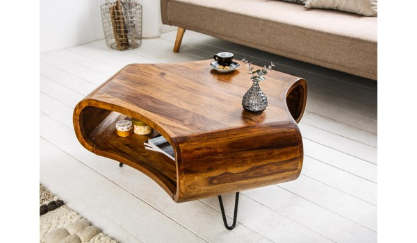 Table basse design en bois massif verni pour salon - Table basse luxe design ...