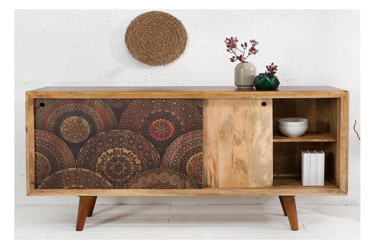 buffet bois porte coulissante vintage 60 70 pour salle. Black Bedroom Furniture Sets. Home Design Ideas