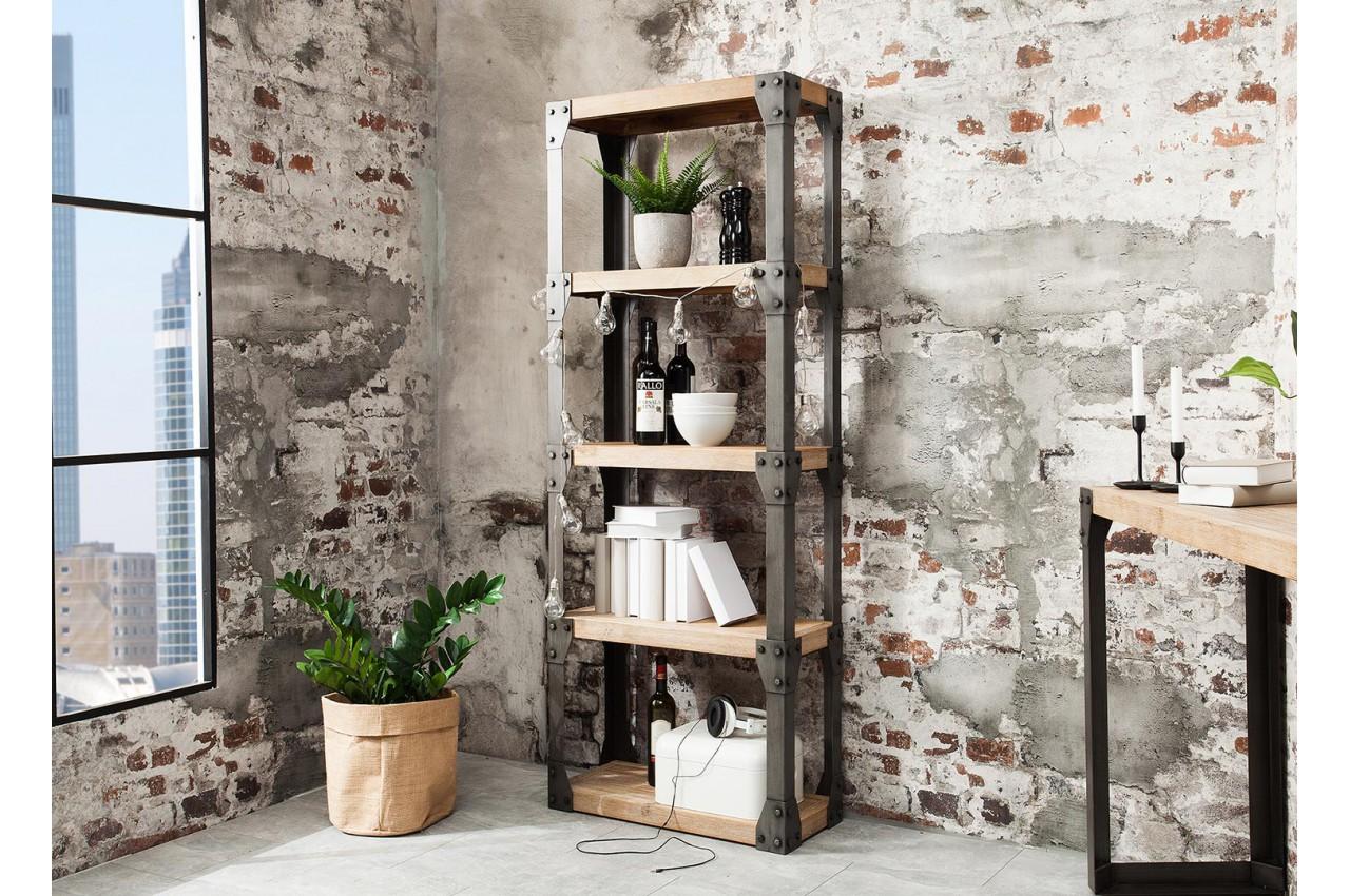 meuble biblioth que bois et m tal type industriel pour salon. Black Bedroom Furniture Sets. Home Design Ideas