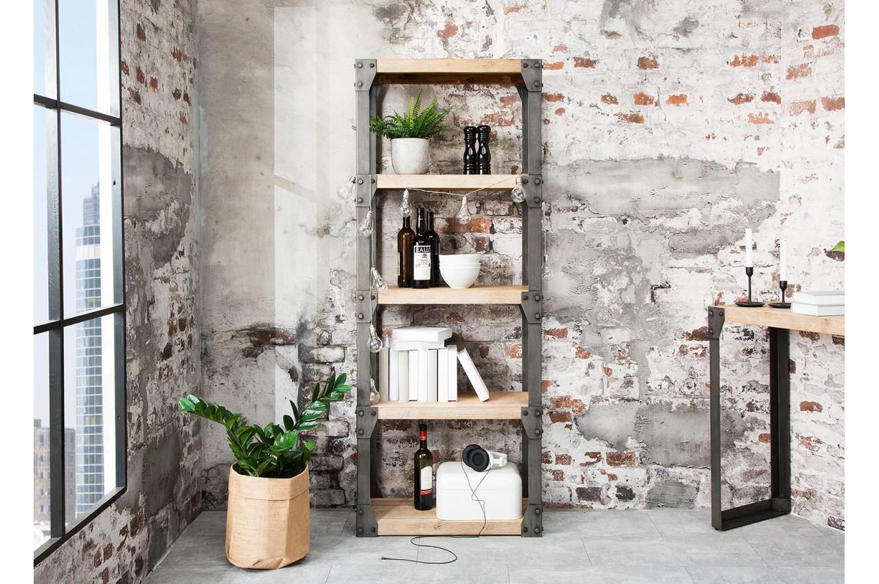 meuble biblioth que bois et m tal type industriel pour meuble de rangement. Black Bedroom Furniture Sets. Home Design Ideas