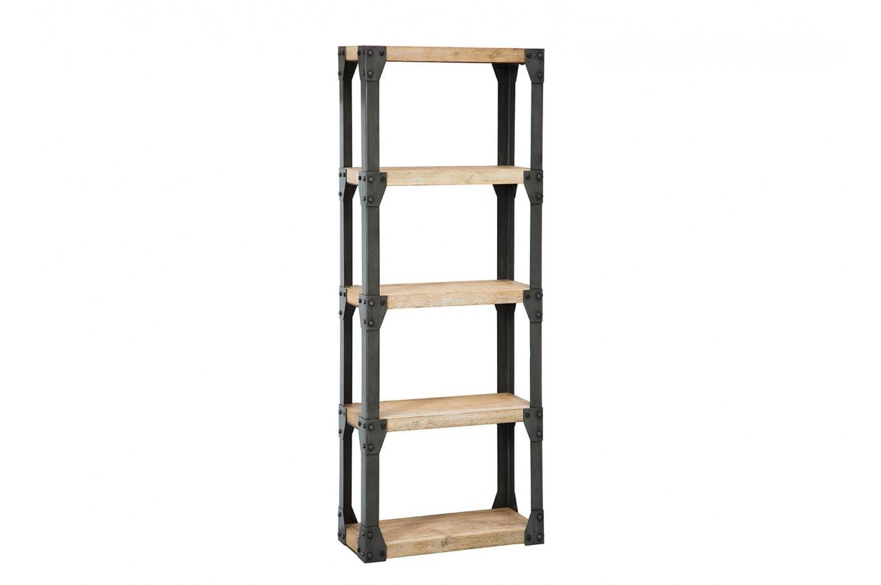 Meuble biblioth que bois et m tal type industriel pour meuble de rangement for Meuble industriel bois et metal