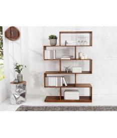 Bibliothèque étagère design en bois massif verni