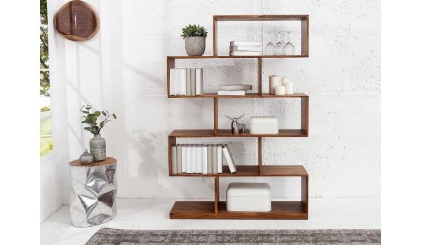Biblioth que tag re design en bois massif verni pour salon - Etageres pour salon bibliotheques bureau ...