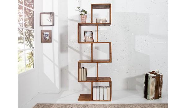 Bibliothèque étagère en bois massif verni