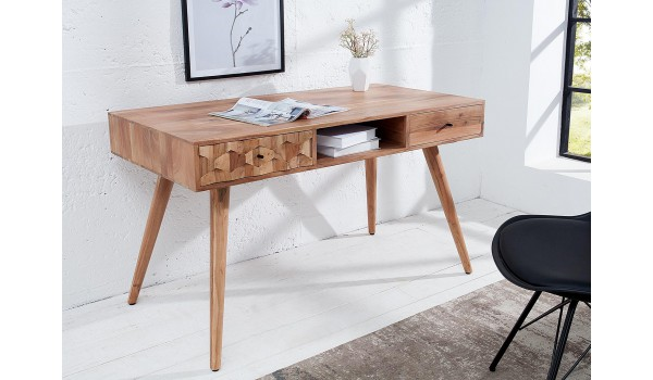 Table console acacia clair / Effet marqueterie 3D