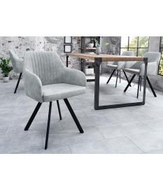Chaise contemporaine gris clair / Pieds métal noir