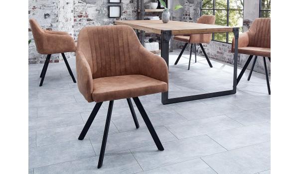 Chaise contemporaine marron / Pieds métal noir