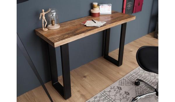 Table console moderne / Bois massif - Piétement métal noir