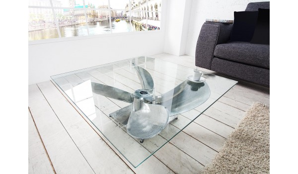 Table basse original - Verre et métal