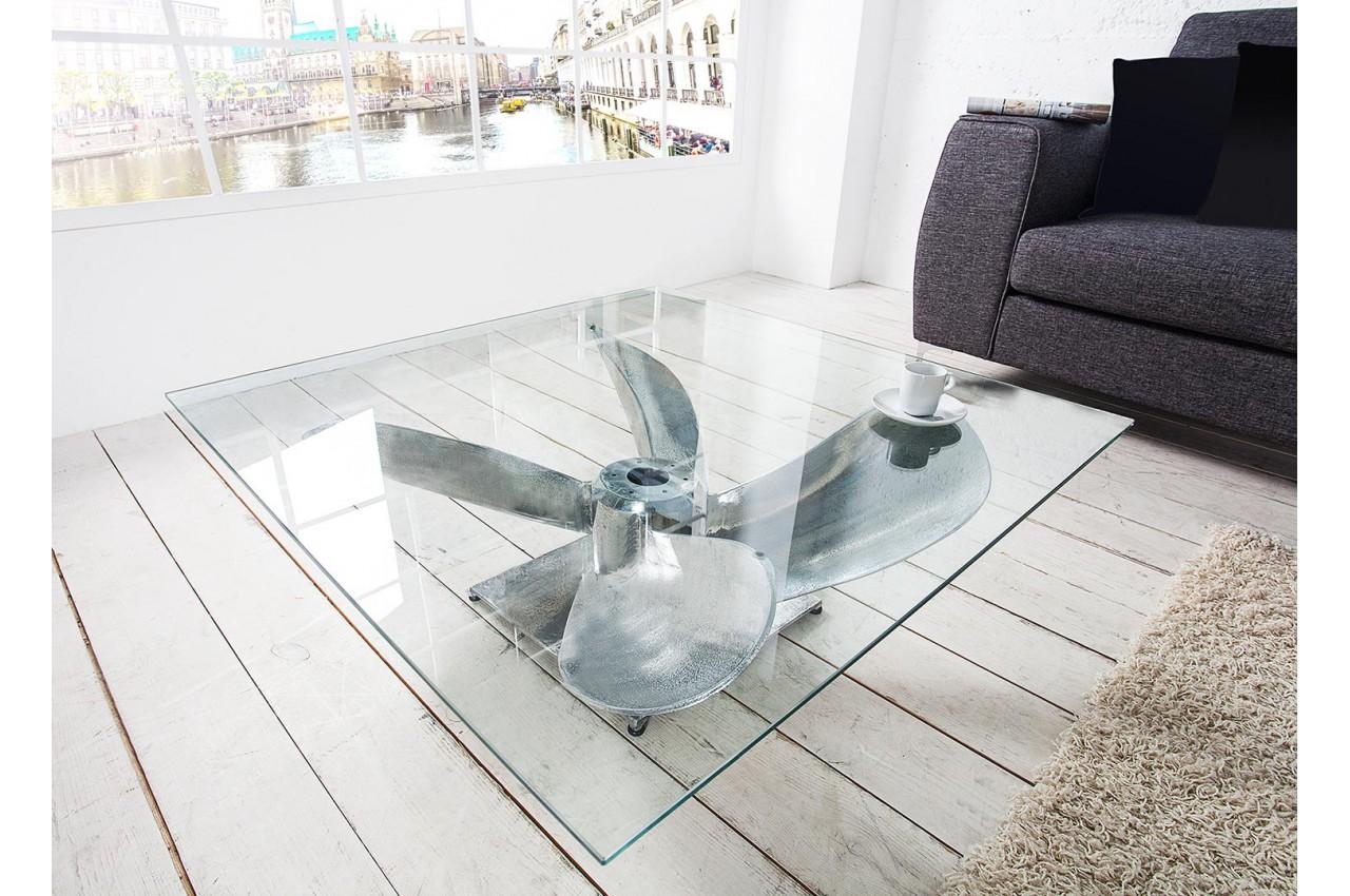 Table Basse Originale Verre Et Métal Pour Salon