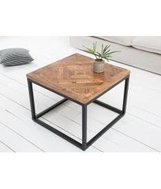 Table basse fer forgé et bois / Carrée