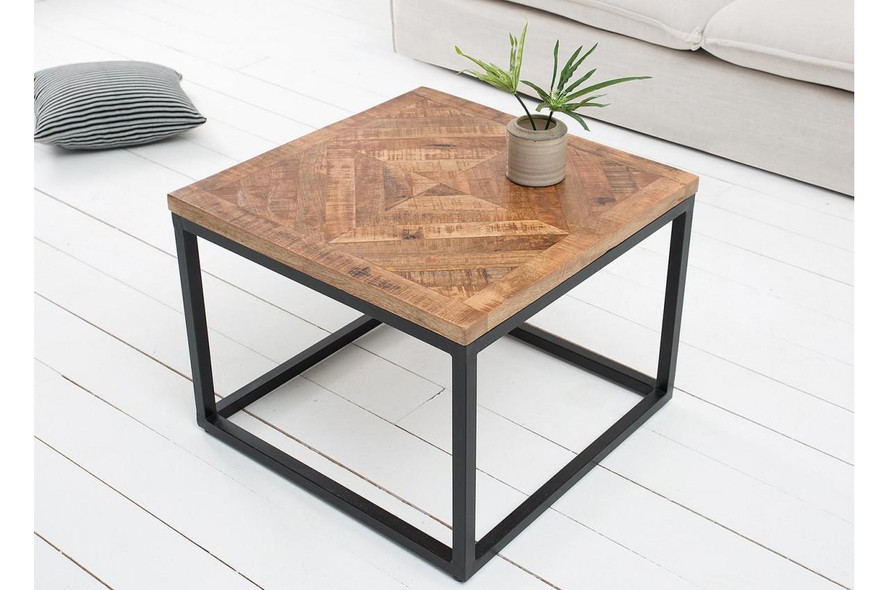 Table basse fer forg et bois carr e pour salon - Table en fer forge et bois ...