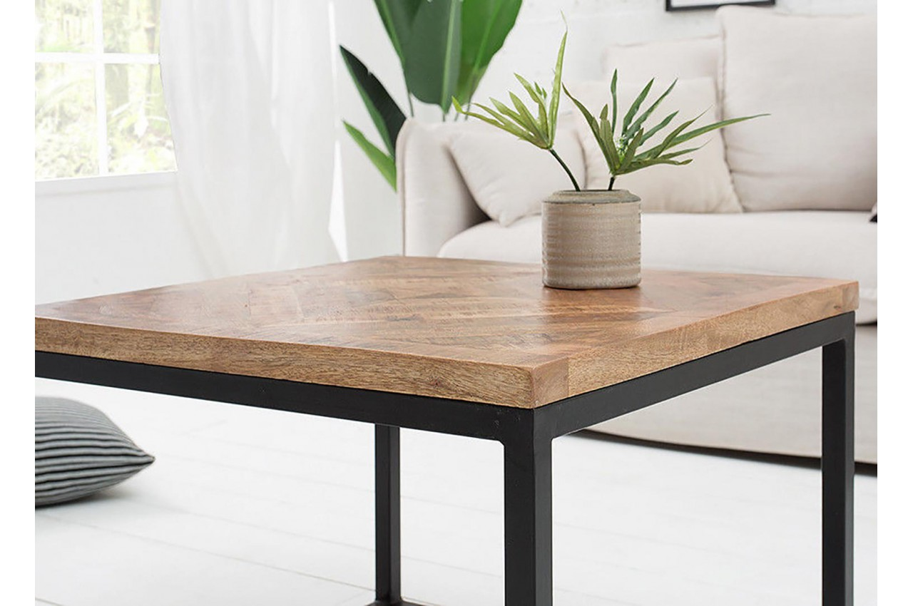 Table Basse Fer Forge Et Bois Carree Pour Salon