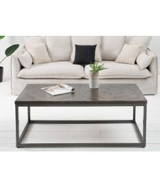 Table basse bois vieilli et fer forgé / Rectangulaire