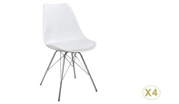 Chaise coque blanche pas cher: Pieds chromé (Lot de 4)