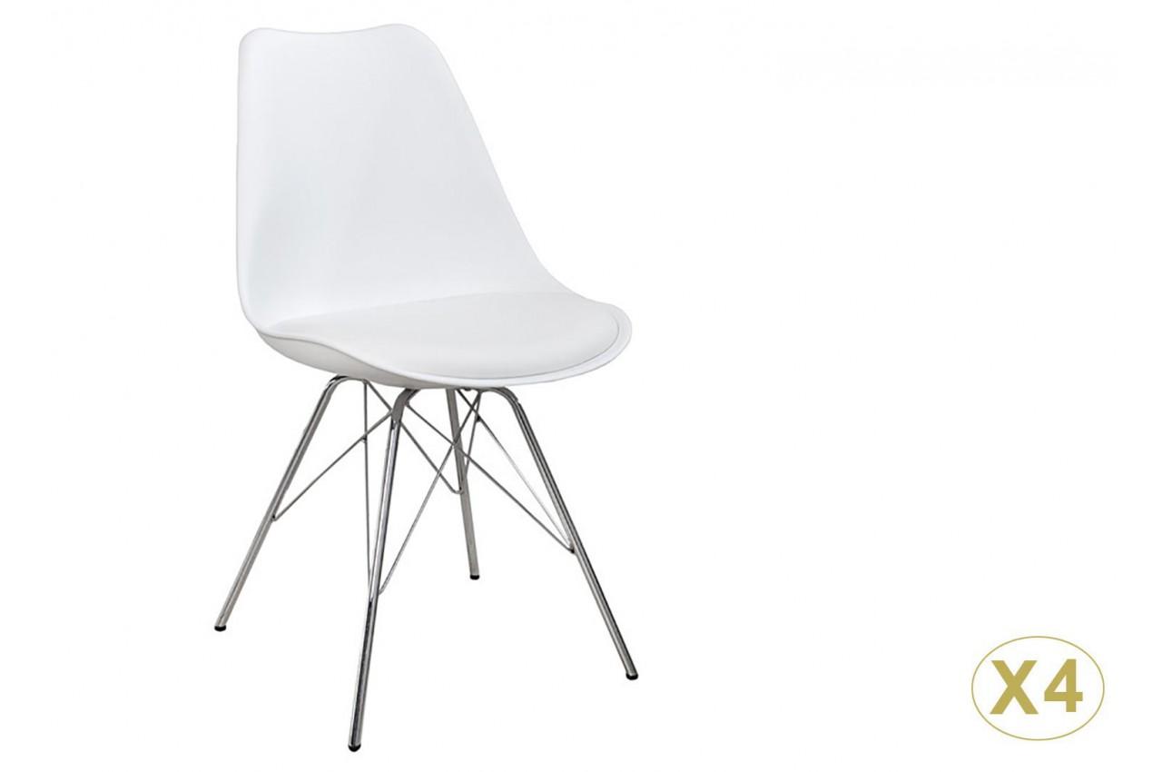 Chaise coque blanche pas cher: Pieds chromés (Lot de 4) pour