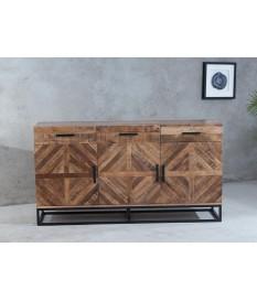 Buffet en bois massif et fer forgé / 3 Portes, 3 tiroirs