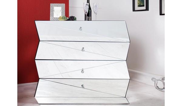 Commode miroir design / 4 Tiroirs en miroir