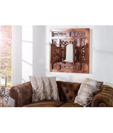 Miroir oriental avec fenêtres : Cadre en bois d'acajou