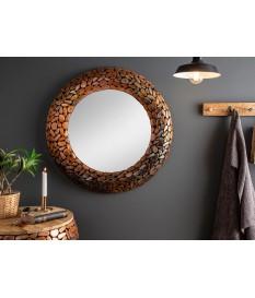 Miroir mural rond : Cadre métal et aluminium cuivré