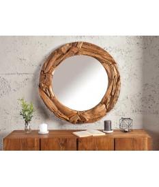 Miroir bois massif rond avec relief