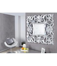 Miroir baroque carré argent antique