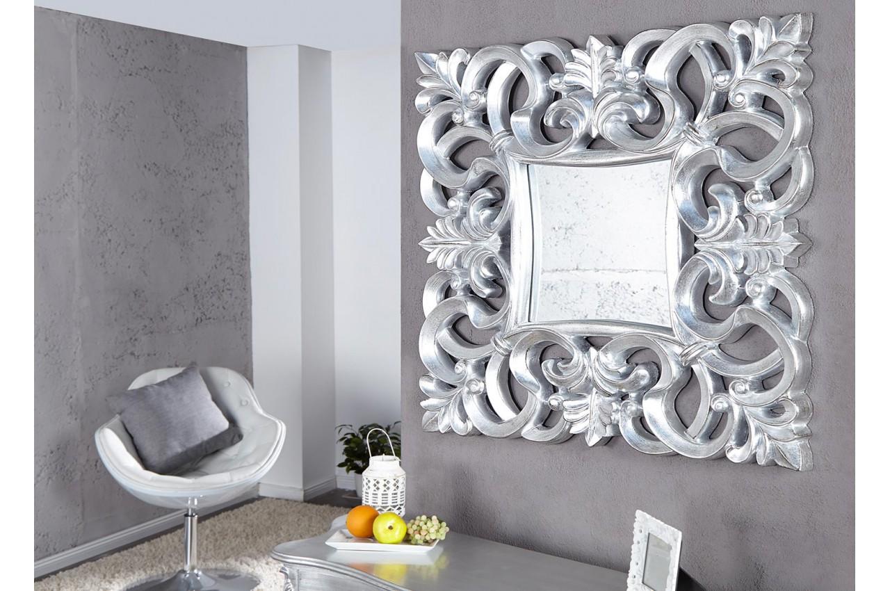 Miroir Baroque Carre Argent Antique Pour Deco