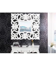 Miroir baroque carré blanc antique