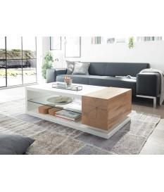 Table basse design blanc laqué et bois