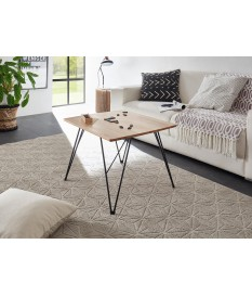 Table basse design carrée - Bois et fer forgé