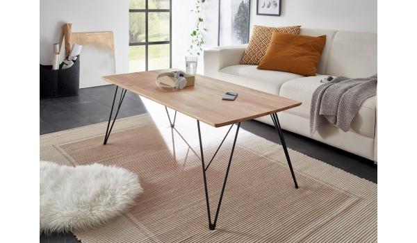 Table basse design rectangulaire - Bois et fer forgé