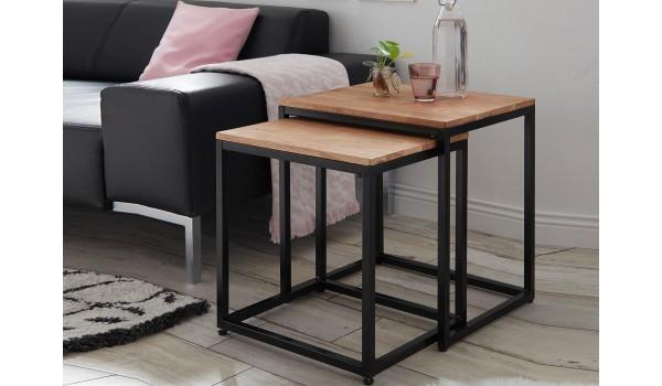 Bout de canapé carré / Bois et métal noir