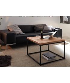 Table basse carré / Bois et métal noir