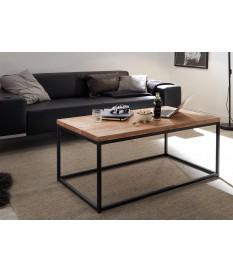 Table basse rectangulaire / Bois et métal noir