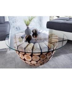Table basse ronde originale - Bois et verre